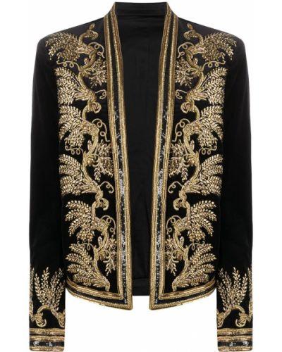 Бархатный пиджак - черный Balmain