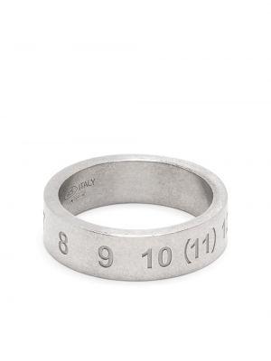 Тонкое серебряное кольцо с декоративной отделкой Maison Margiela