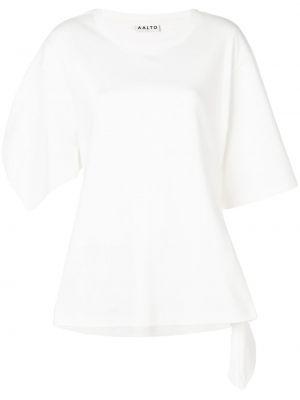 Biały t-shirt bawełniany asymetryczny Aalto