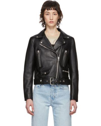 С рукавами черная кожаная длинная куртка Acne Studios