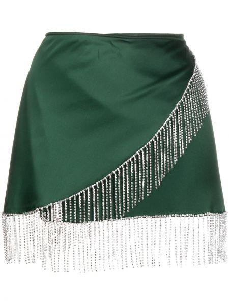Zielony z wysokim stanem satyna spódnica frędzlami Oséree