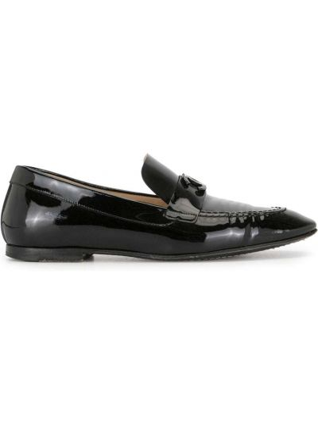 Skórzany czarny loafers płaska podeszwa Chanel Pre-owned