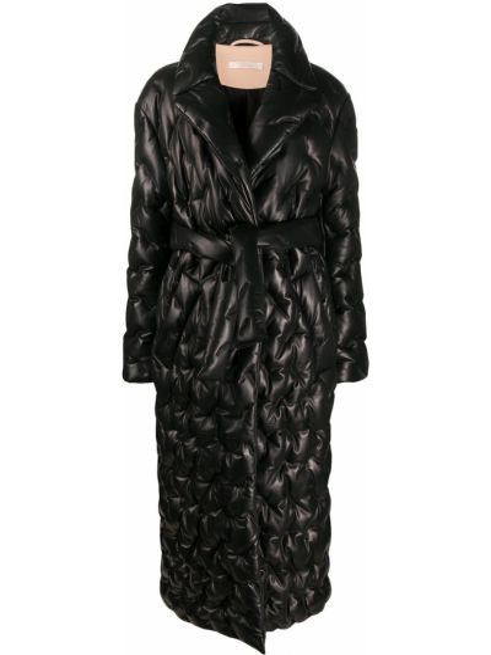 Черное стеганое кожаное пальто классическое Ssheena