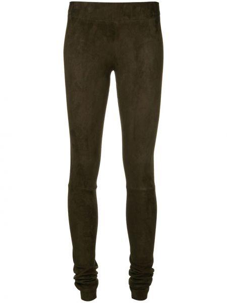 Зеленые кожаные брюки с поясом Sylvie Schimmel