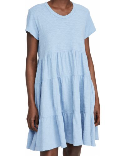 Трикотажное синее платье с короткими рукавами Wilt