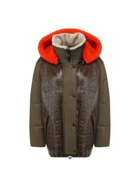 Кожаная куртка из овчины - зеленая Army Yves Salomon