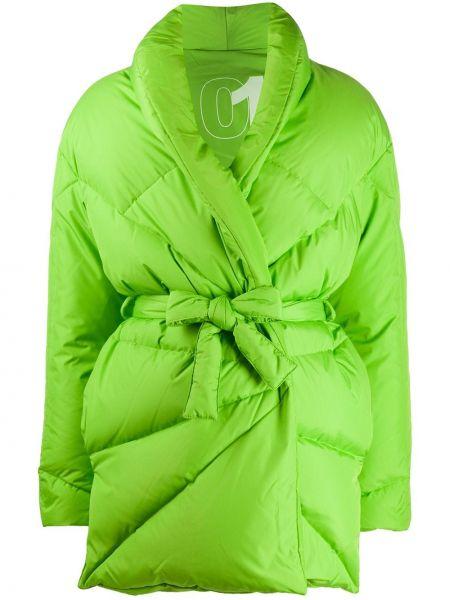 Zielony puchaty krawat z długimi rękawami z klapą Khrisjoy