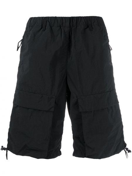 С кулиской нейлоновые черные короткие шорты на резинке Nemen