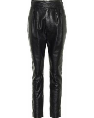 Кожаные черные домашние брюки с воротником Saint Laurent