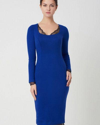 Прямое синее платье А-силуэта Ricamare