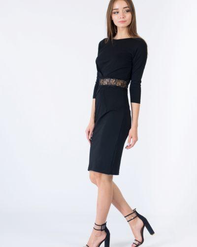 Черное платье с поясом Paper Dolls