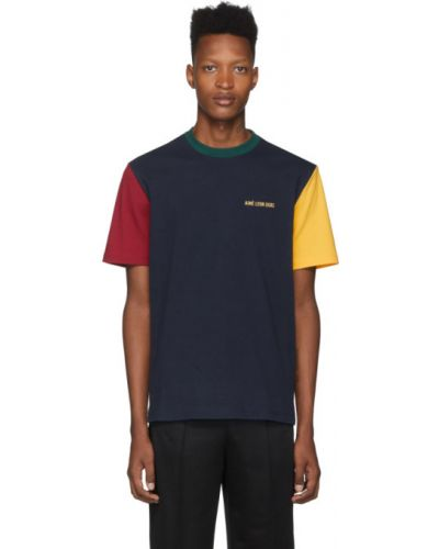 Żółty t-shirt bawełniany z haftem Aime Leon Dore