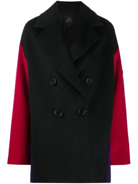 Шерстяное черное длинное пальто двубортное Armani Exchange