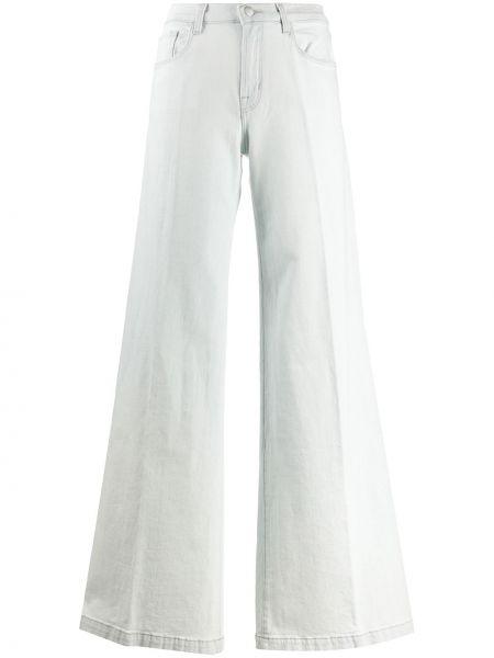 Расклешенные хлопковые синие джинсы на молнии J Brand