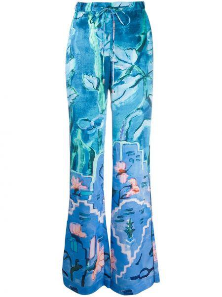 Синие шелковые брюки-хулиганы брюки Peter Pilotto