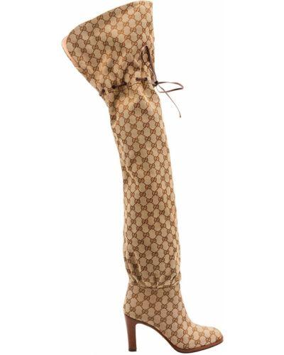 Ботфорты на каблуке кожаные Gucci