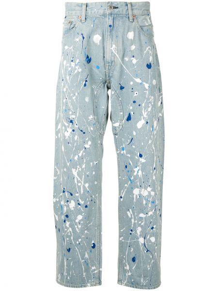 Свободные хлопковые синие джинсы свободного кроя Junya Watanabe Man