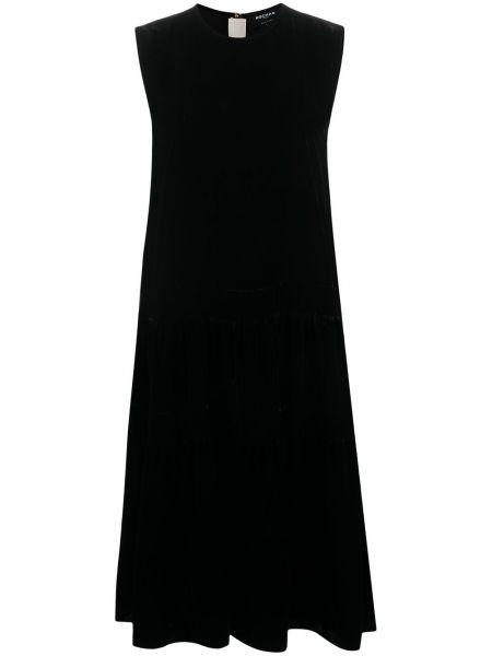 Шелковое черное платье без рукавов круглое Rochas
