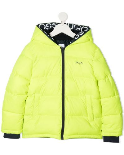 Флисовая желтая дутая куртка с капюшоном Boss Kids