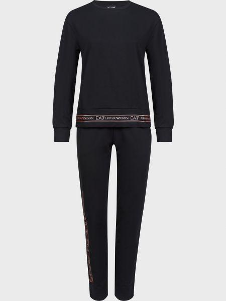 Хлопковый спортивный костюм - черный Ea7 Emporio Armani