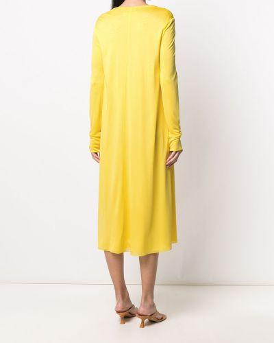 Желтое с рукавами платье миди с вырезом Emilio Pucci