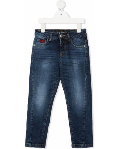 Облегающие синие джинсы-скинни на молнии John Richmond Junior
