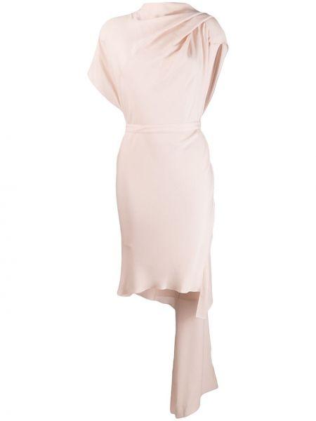 Приталенное драповое платье с драпировкой Poiret