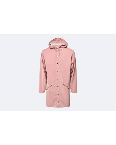 Różowa długa kurtka z kapturem Rains