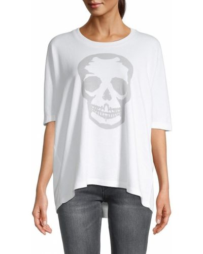 Хлопковая белая футболка с черепами Zadig & Voltaire
