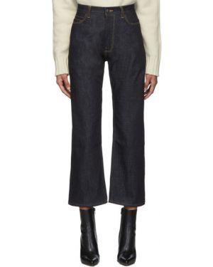 Желтые укороченные джинсы стрейч в стиле бохо свободного кроя Studio Nicholson