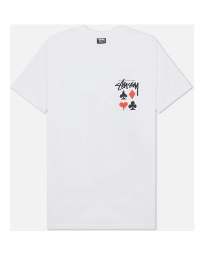 Хлопковая белая футболка Stussy