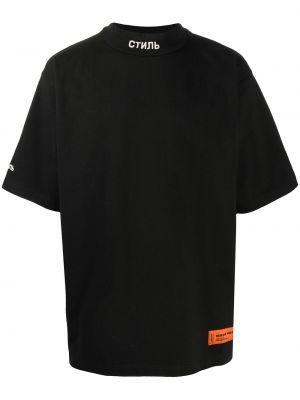 Bezpłatne cięcie bawełna czarny koszula krótkie z krótkim rękawem z haftem Heron Preston