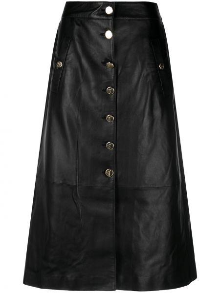 Кожаная с завышенной талией черная юбка миди на пуговицах Temperley London