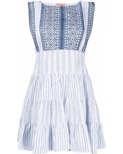 Белое платье мини в полоску с вырезом Ermanno Scervino