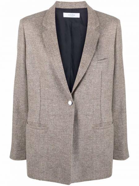 Шерстяной однобортный коричневый удлиненный пиджак Roseanna