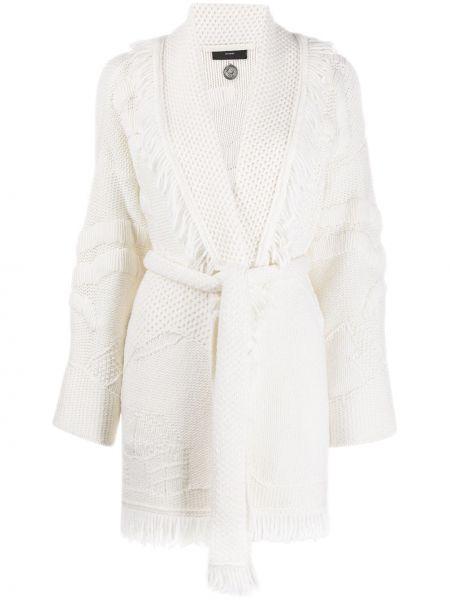 Шерстяное белое вязаное пальто Alanui