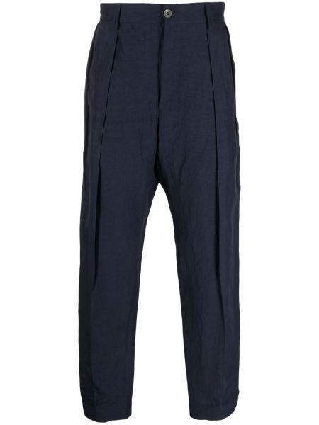 Niebieskie spodnie z paskiem bawełniane Giorgio Armani
