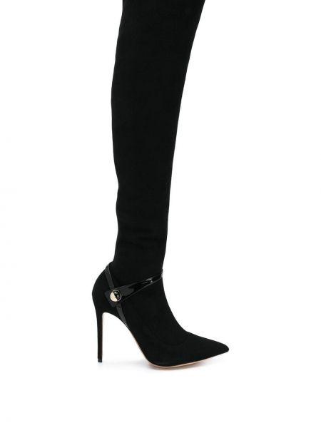 Черные замшевые сапоги на шпильке на каблуке Giorgio Armani