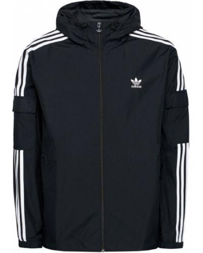 Czarna wiatrówka w paski Adidas