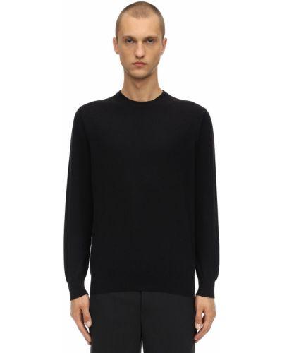 Prążkowany czarny z kaszmiru sweter Piacenza Cashmere