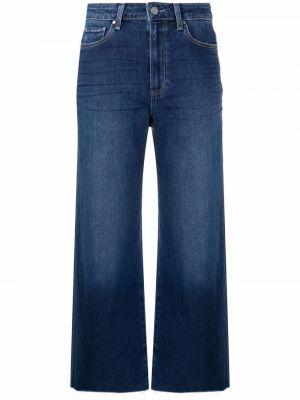Укороченные широкие джинсы - синие Paige