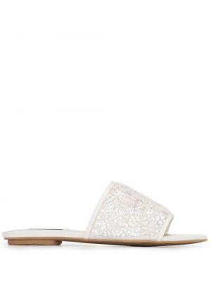 Białe sandały płaska podeszwa peep toe Badgley Mischka