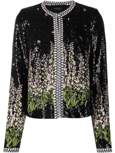 Ватная черная длинная куртка с вышивкой Giambattista Valli