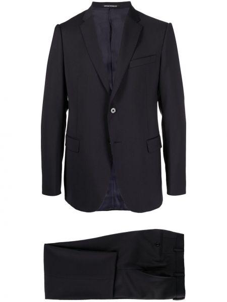 Klasyczny niebieski garnitur slim wełniany Emporio Armani