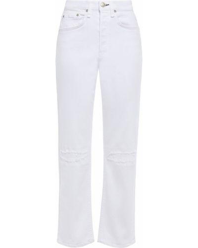 Białe jeansy z paskiem bawełniane Rag & Bone