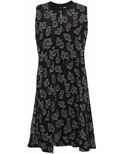 Расклешенное шифоновое черное платье Mcq Alexander Mcqueen