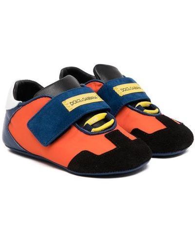 Pomarańczowe sneakersy bez obcasa Dolce & Gabbana Kids