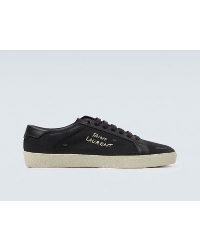 Klasyczny czarny włókienniczy sneakersy z haftem Saint Laurent