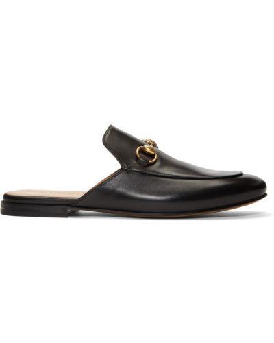Slipony skórzany czarny Gucci