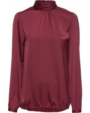 Блузка с длинным рукавом с воротником-стойкой сатиновая Bonprix